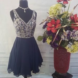 beautiful blue and silver beaded homecoming dress!